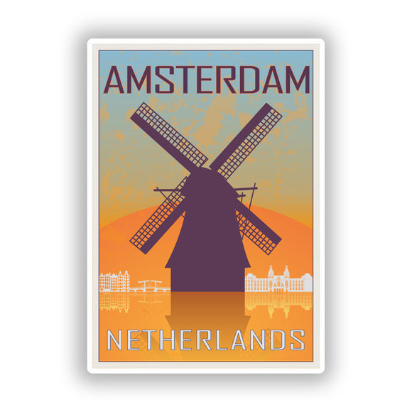 2 x Amsterdam Netherlands Vinyl Stickers Travel Luggage #7969