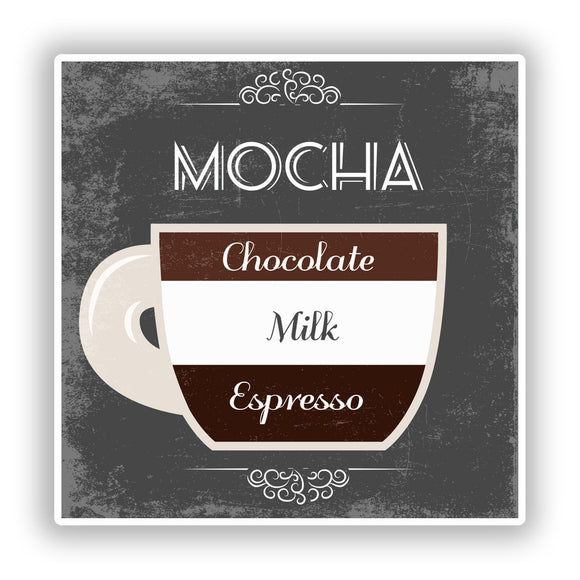 2 x Mocha Coffee Shop Vinyl Sticker Business #7975