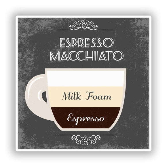 2 x Espresso Macchiato Coffee Shop Vinyl Sticker Business #7977