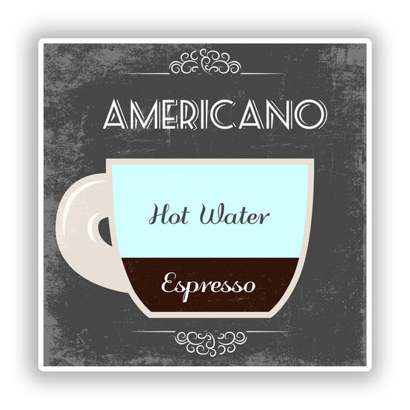2 x Americano Coffee Shop Vinyl Sticker Business #7978