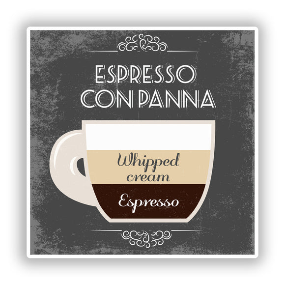 2 x Espresso Con Panna Coffee Shop Vinyl Sticker Business #7979