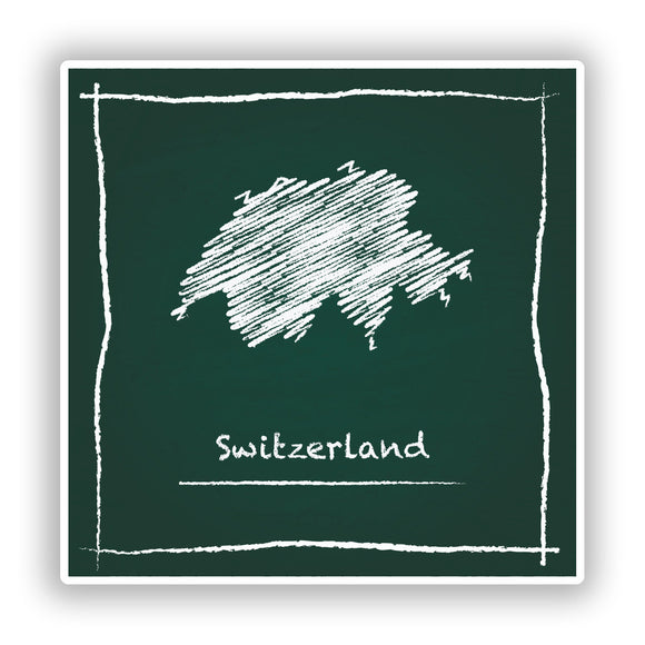 2 x Switzerland Sketch Vinyl Stickers Travel Luggage #7990