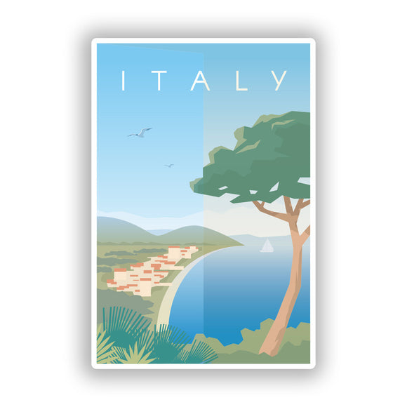 2 x Italy Skyline Vinyl Stickers Travel Luggage #8000