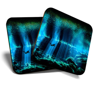 Great Coasters (Set of 2) Square / Glossy Quality Coasters / Tabletop Protection for Any Table Type - Underwater Scuba Diving Cave Diver  #8081