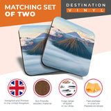 Great Coasters (Set of 2) Square / Glossy Quality Coasters / Tabletop Protection for Any Table Type - Mount Bromo Indonesia Volcano Mountain  #8082