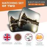 Great Coasters (Set of 2) Square / Glossy Quality Coasters / Tabletop Protection for Any Table Type - ATV Quad Bike Motorbike Biker  #8096