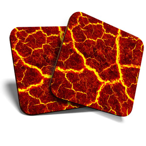 Great Coasters (Set of 2) Square / Glossy Quality Coasters / Tabletop Protection for Any Table Type - Molten Lava Flow Volcano Red Fire  #8121