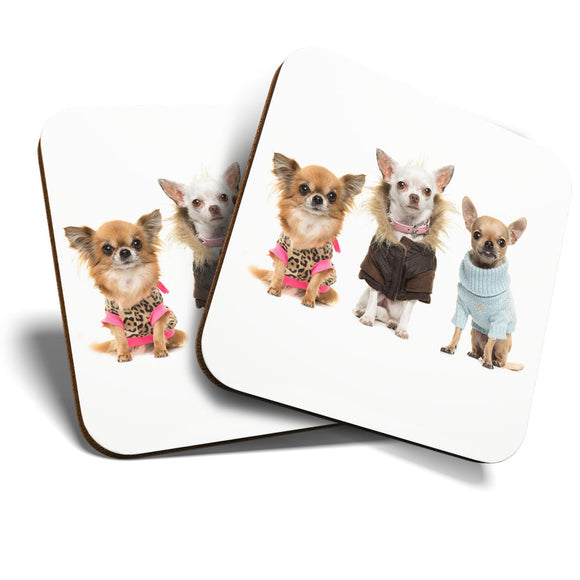 Great Coasters (Set of 2) Square / Glossy Quality Coasters / Tabletop Protection for Any Table Type - Chihuahua Dog Puppy Group  #8131-2