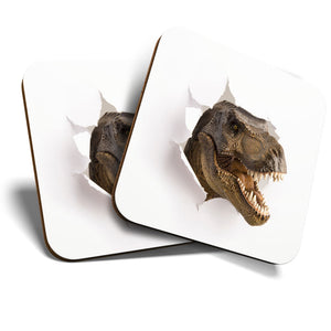 Great Coasters (Set of 2) Square / Glossy Quality Coasters / Tabletop Protection for Any Table Type - T-Rex Dinosaur Dino Kids Teen  #8140
