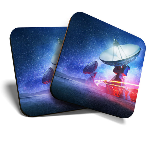 Great Coasters (Set of 2) Square / Glossy Quality Coasters / Tabletop Protection for Any Table Type - Radio Telescope Space Aliens NASA  #8216