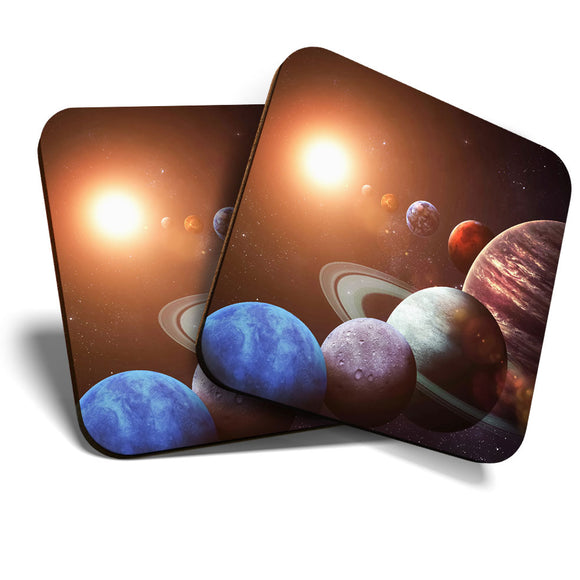 Great Coasters (Set of 2) Square / Glossy Quality Coasters / Tabletop Protection for Any Table Type - Planets Solar System Space NASA  #8222