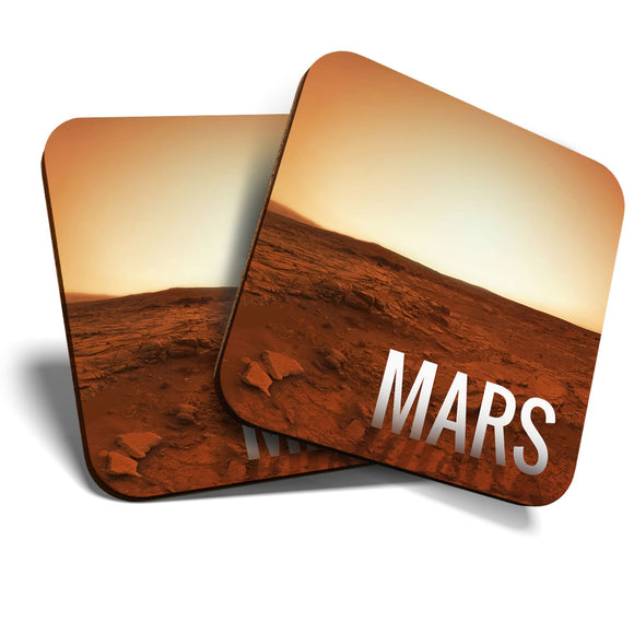 Great Coasters (Set of 2) Square / Glossy Quality Coasters / Tabletop Protection for Any Table Type - Mars Planet Space NASA  #8223