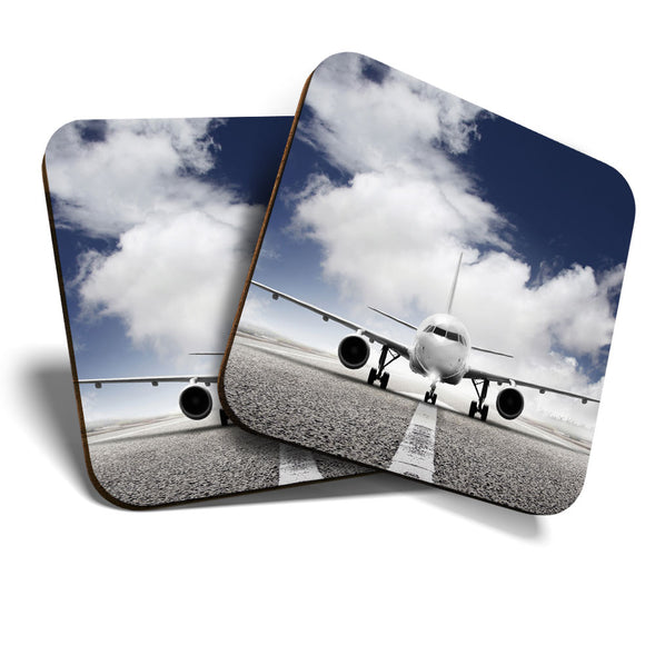 Great Coasters (Set of 2) Square / Glossy Quality Coasters / Tabletop Protection for Any Table Type - Private Jet Airplane Plane Pilot  #8224
