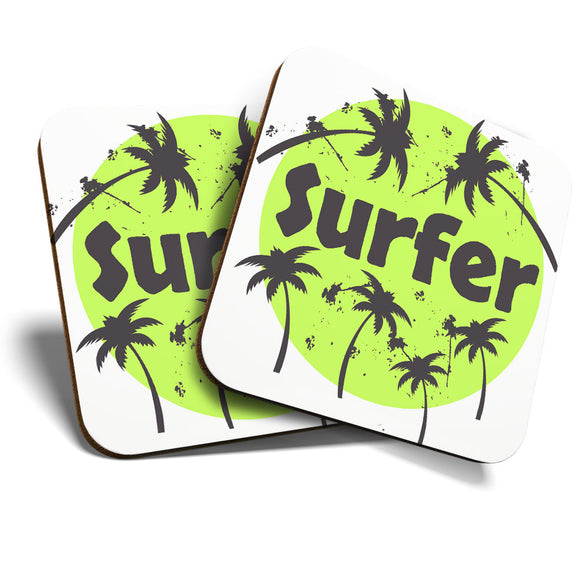 Great Coasters (Set of 2) Square / Glossy Quality Coasters / Tabletop Protection for Any Table Type - Green Surf Palm Tree Surfer  #8226