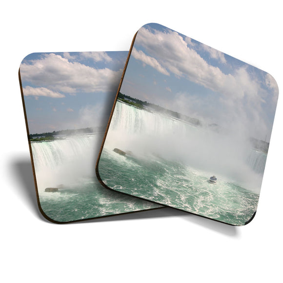 Great Coasters (Set of 2) Square / Glossy Quality Coasters / Tabletop Protection for Any Table Type - Niagara Falls Canada Travel  #8227