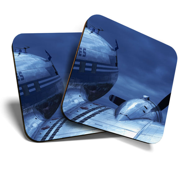 Great Coasters (Set of 2) Square / Glossy Quality Coasters / Tabletop Protection for Any Table Type - Airplane DC-3 Dakota Plane Pilot  #8228