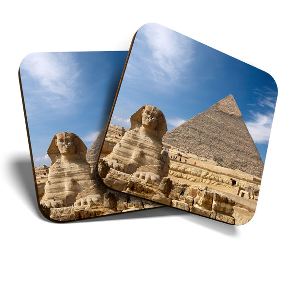 Great Coasters (Set of 2) Square / Glossy Quality Coasters / Tabletop Protection for Any Table Type - Ancient Sphinx & Pyramid Eygpt Travel  #8230