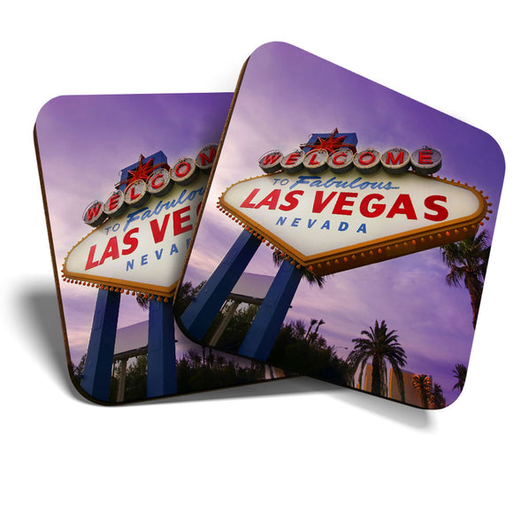 Great Coasters (Set of 2) Square / Glossy Quality Coasters / Tabletop Protection for Any Table Type - Las Vegas Sign USA America  #8233