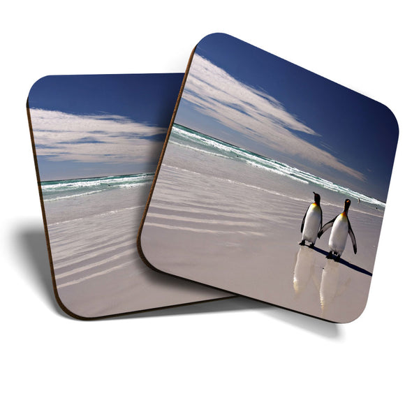 Great Coasters (Set of 2) Square / Glossy Quality Coasters / Tabletop Protection for Any Table Type - Cute Couple Penguin Bird Beach  #8237