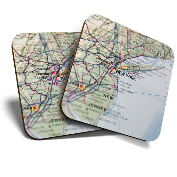 Great Coasters (Set of 2) Square / Glossy Quality Coasters / Tabletop Protection for Any Table Type - New York Map America USA NYC  #8238