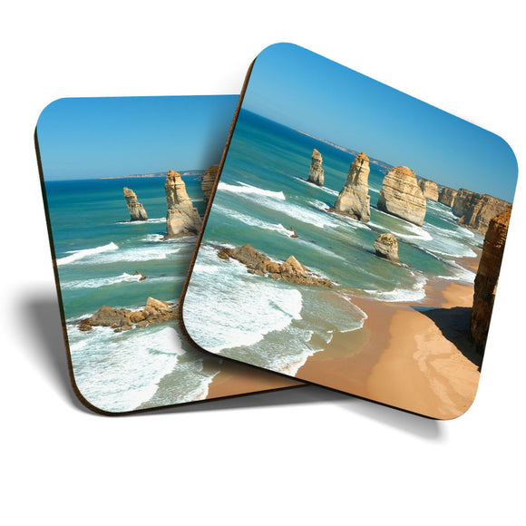 Great Coasters (Set of 2) Square / Glossy Quality Coasters / Tabletop Protection for Any Table Type - Twelve Apostles Beach Victoria Australia  #8239