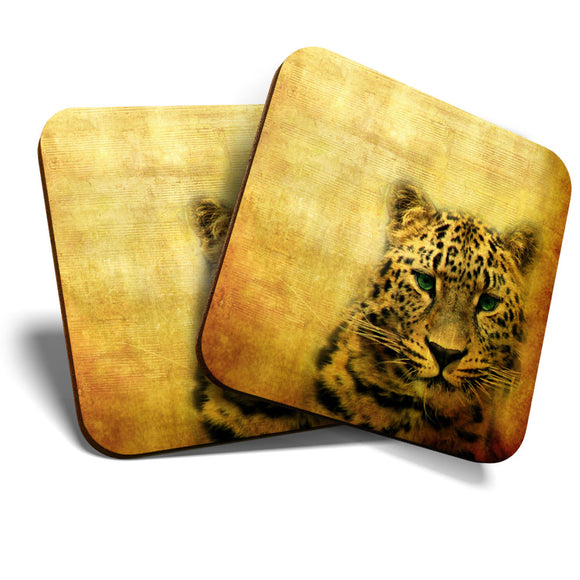 Great Coasters (Set of 2) Square / Glossy Quality Coasters / Tabletop Protection for Any Table Type - Leopard Big Cat Wild Art  #8241