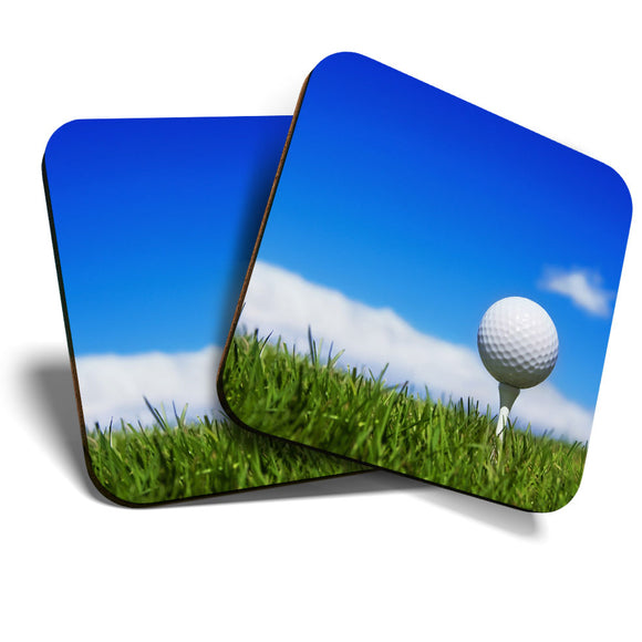 Great Coasters (Set of 2) Square / Glossy Quality Coasters / Tabletop Protection for Any Table Type - Golf Ball Sports Men's Dad Uncle  #8243