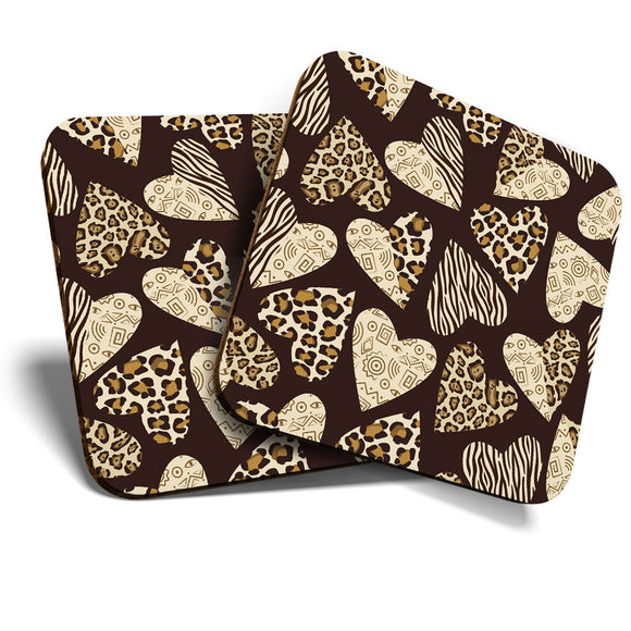 Great Coasters (Set of 2) Square / Glossy Quality Coasters / Tabletop Protection for Any Table Type - Cute Love Hearts Animal Print  #8248