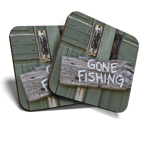 Great Coasters (Set of 2) Square / Glossy Quality Coasters / Tabletop Protection for Any Table Type - Gone Fishing Sign Garden Dad Uncle  #8253