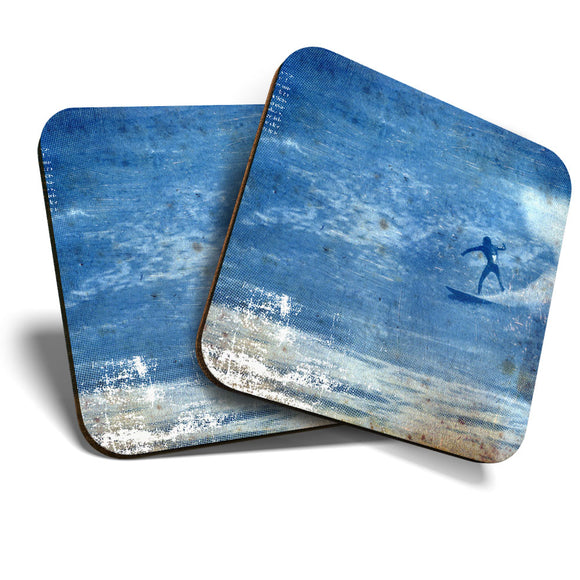Great Coasters (Set of 2) Square / Glossy Quality Coasters / Tabletop Protection for Any Table Type - Big Wave Surf Surfer Surfing Ocean  #8254
