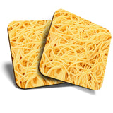 Great Coasters (Set of 2) Square / Glossy Quality Coasters / Tabletop Protection for Any Table Type - Awesome Spaghetti Pasta Food Italian  #8263