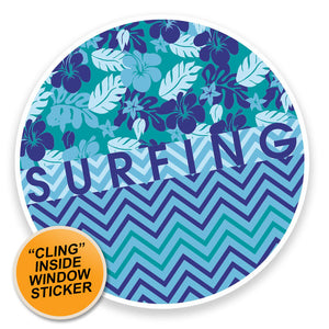 2 x Surfing WINDOW CLING STICKER Car Van Campervan Glass #9012