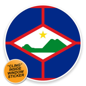 2 x Sint Eustatius Flag Map WINDOW CLING STICKER Car Van Campervan Glass #9028