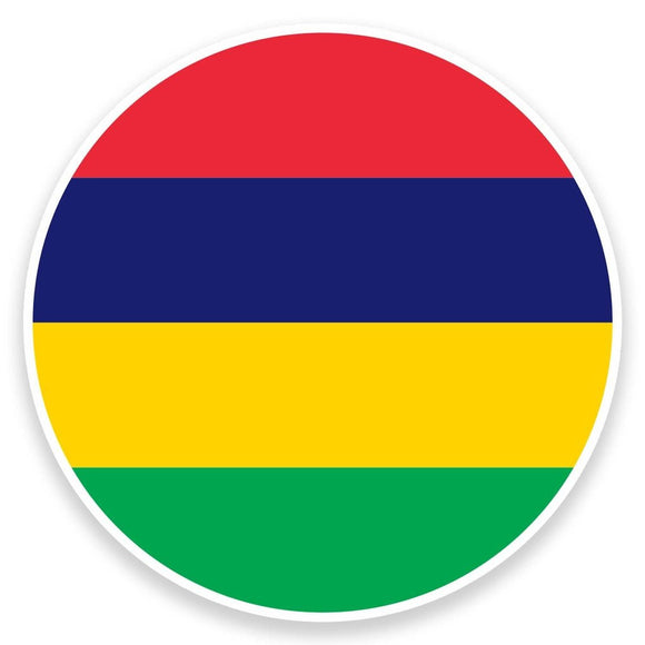 2 x Mauritius Flag Map Vinyl Sticker  #9034