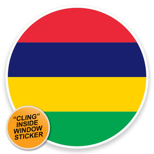 2 x Mauritius Flag Map WINDOW CLING STICKER Car Van Campervan Glass #9034