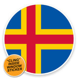 2 x Aland Flag Map WINDOW CLING STICKER Car Van Campervan Glass #9041