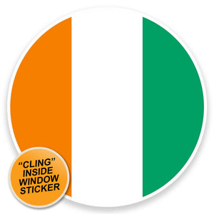 2 x Cote D'Ivoire Flag Map WINDOW CLING STICKER Car Van Campervan Glass #9045