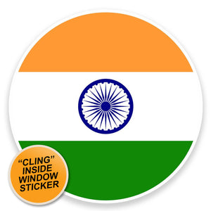 2 x India Flag Map WINDOW CLING STICKER Car Van Campervan Glass #9047