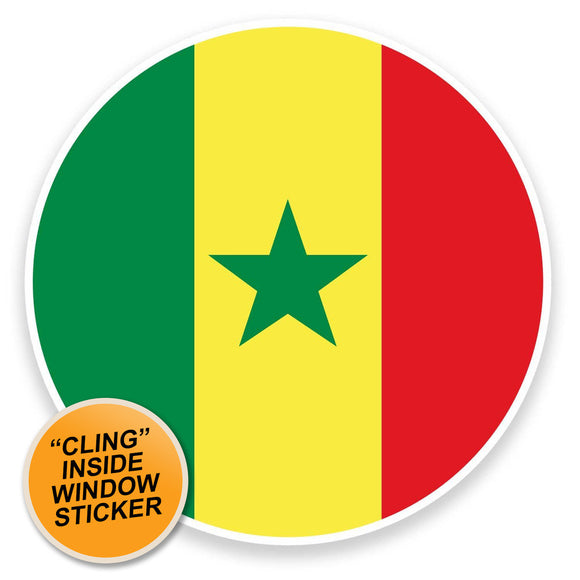 2 x Senegal Flag Map WINDOW CLING STICKER Car Van Campervan Glass #9053