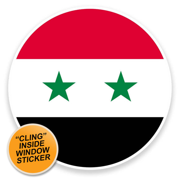 2 x Syria Flag Map WINDOW CLING STICKER Car Van Campervan Glass #9055