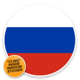 2 x Russian Flag WINDOW CLING STICKER Car Van Campervan Glass #9089
