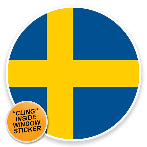 2 x Sweden Flag WINDOW CLING STICKER Car Van Campervan Glass #9100