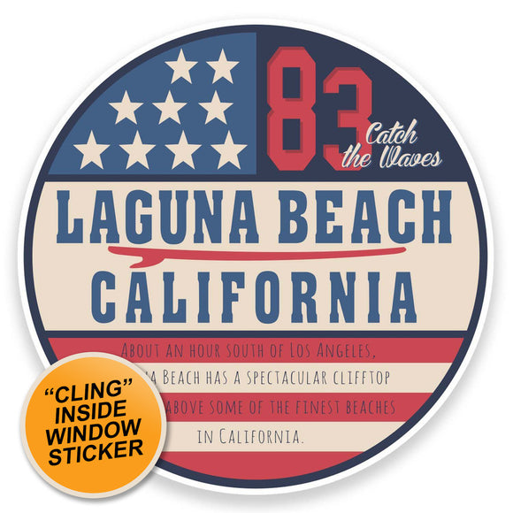 2 x Laguna Beach California USA WINDOW CLING STICKER Car Van Campervan Glass #9113