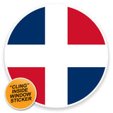2 x Dominican Republic Flag WINDOW CLING STICKER Car Van Campervan Glass #9127