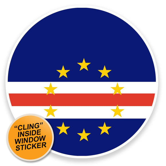 2 x Cape Verde Flag WINDOW CLING STICKER Car Van Campervan Glass #9131
