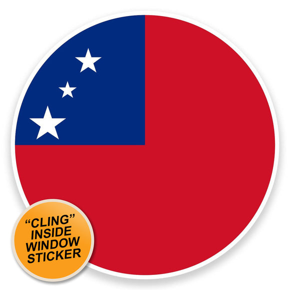 2 x Samoa Flag WINDOW CLING STICKER Car Van Campervan Glass #9160