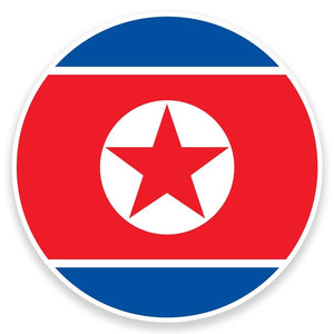 2 x North Korea Flag Vinyl Sticker  #9161