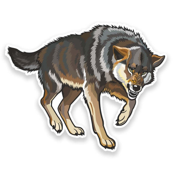 2 x Angry Wolf Vinyl Sticker  #9172