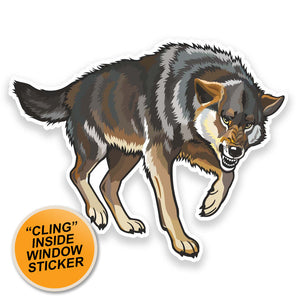2 x Angry Wolf WINDOW CLING STICKER Car Van Campervan Glass #9172