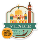 2 x Venice Italy WINDOW CLING STICKER Car Van Campervan Glass #9187